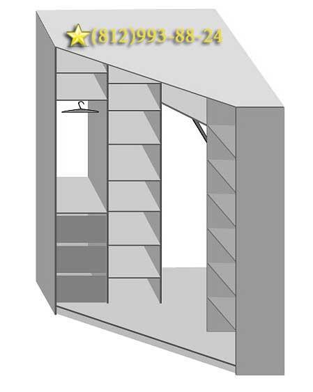 Внутреннее наполнение углового шкафа, угловой шкаф на заказ,.